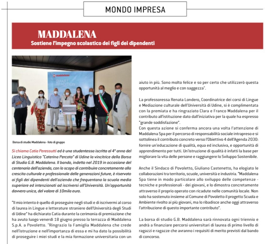 Maddalena supports the educational commitment of the children of employees Realtà Industriale | July 2021