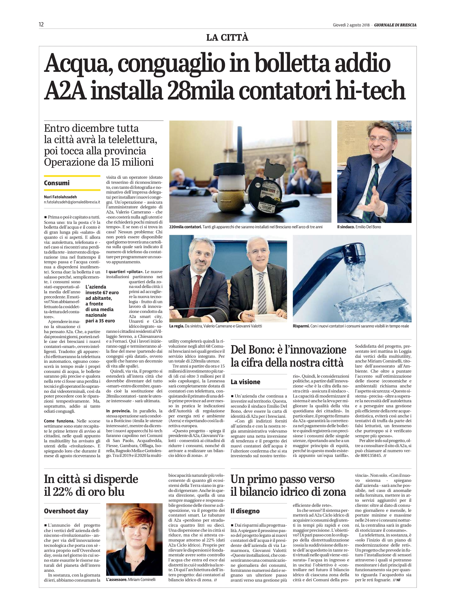 Local press - Giornale di Brescia Public utility A2A installs 28K smart water meters