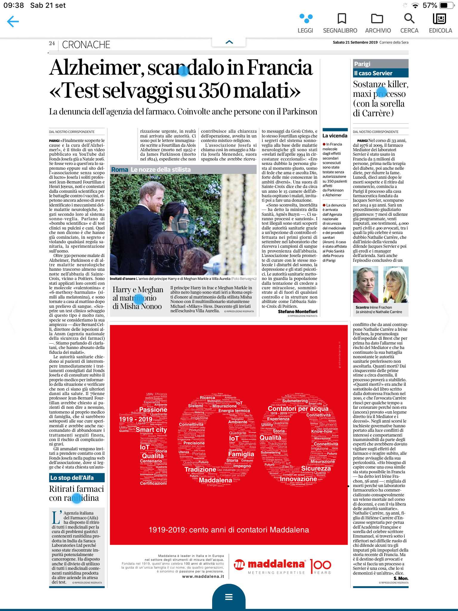 advert Maddalena celebrates 100 years