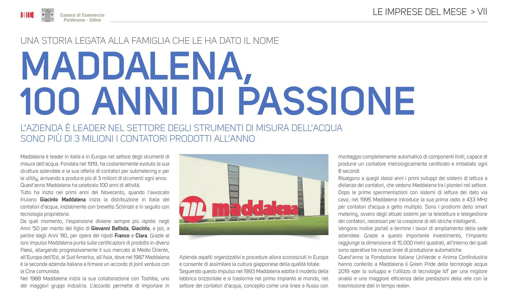 Messaggero Veneto 30 Oct. 2019 Maddalena, 100 years of passion