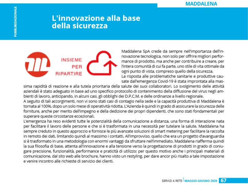 SERVIZI A RETE | MAY JUNE 2020 Innovation to be safe