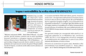 Realtà Industriale | January 2021 Water and Sustainability: Maddalena's Ethical Choice