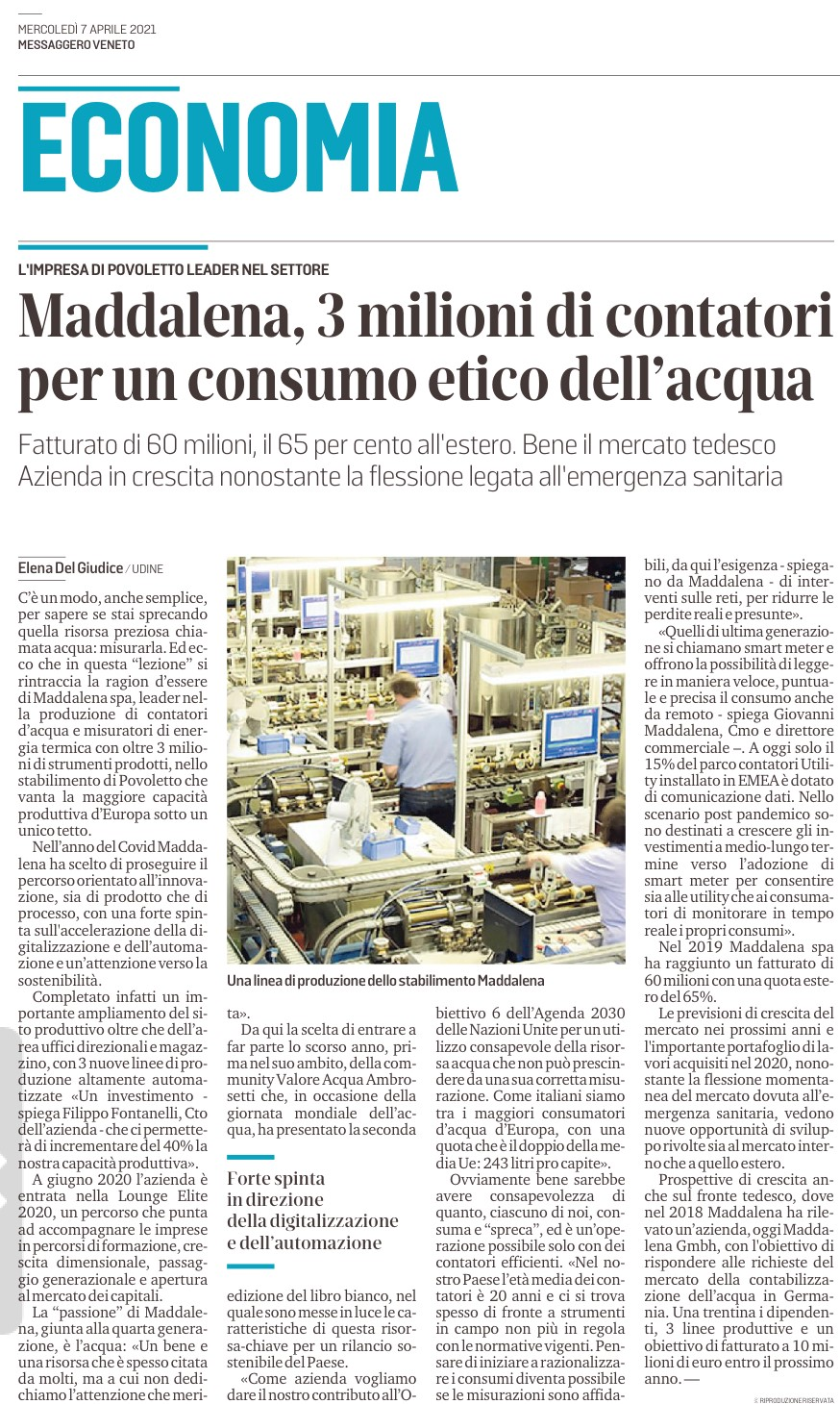 Messaggero Veneto Economy | April 07 2021 Maddalena, 3 million meters for ethical water consumption